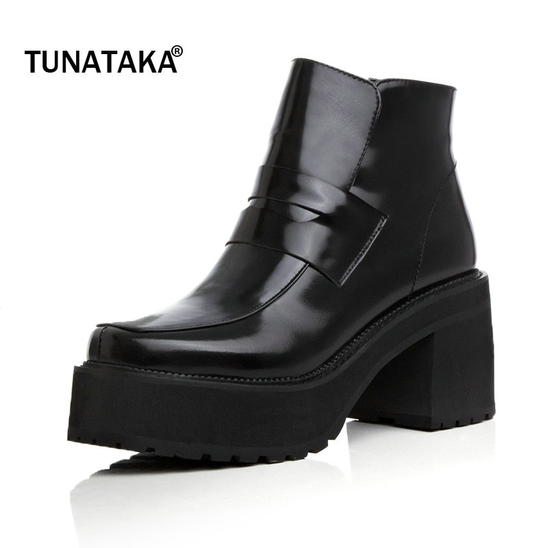 Woman Genuine Leather Platform Square High Heel Ankle Boots Fashion Round Toe Side Zipper Party Winter Boots Black winter round toe buckle platform ankle boots fashion side zipper party woman boots square heel shoes black brown