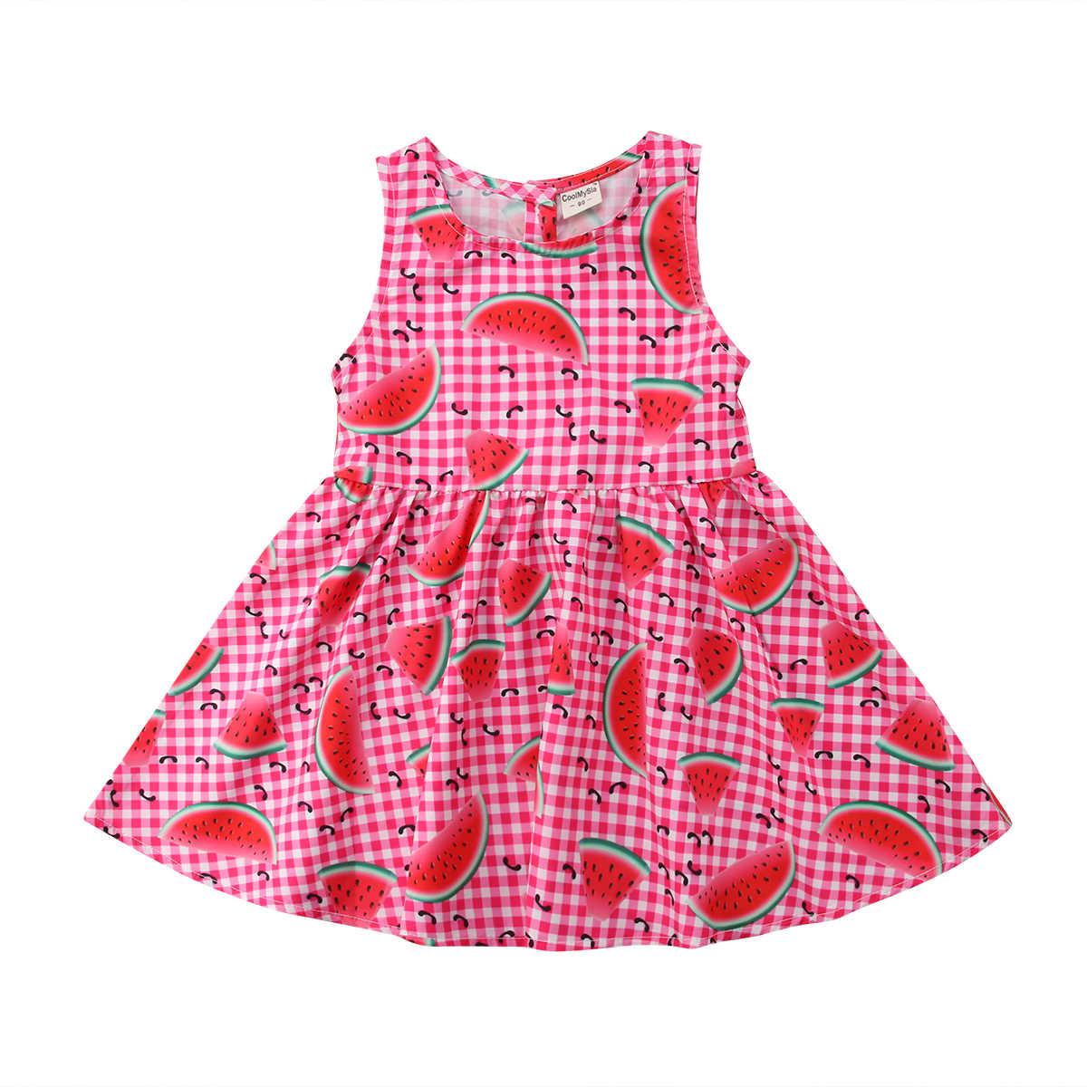 2018 ยี่ห้อใหม่เด็กวัยหัดเดินเด็กทารกเด็กชุดแตงโมพิมพ์เช็คอายุ 2-5 ปีฤดูร้อนน่ารัก Sundress