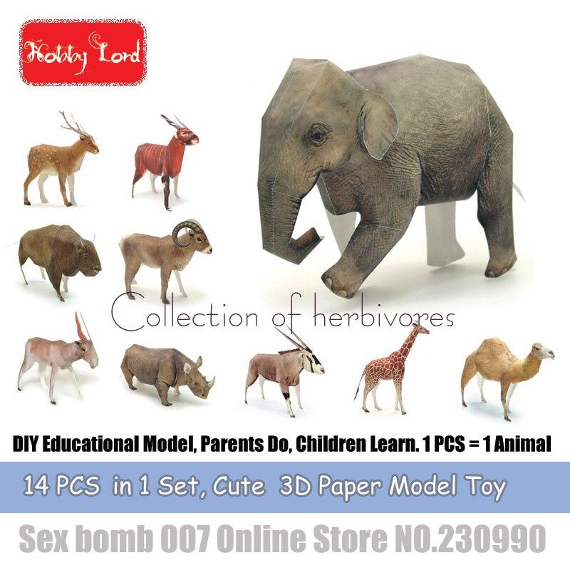 ᐂ14 unids en 1 herbívoros animales 3D modelos de papel elefante DIY ...