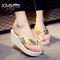 Increased 7cm 6 color Large size fashion flip flops slope with thick crust female minimalist resort beach sandals and slippers