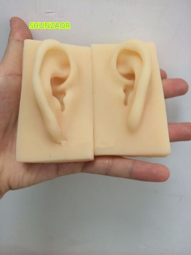 SHUNZAOR 1:1 life-size 2 Pcs Silicone Acupuncture Practice Simulation Model Ear model pig acupuncture model animal acupuncture model