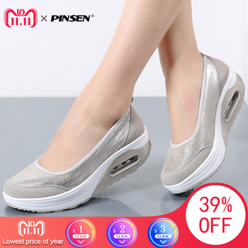 PINSEN Women Flat Platform Shoes Woman Moccasin zapatos mujer platform sandals Slip On For Ladies Shoes Casual Flats Moccasins