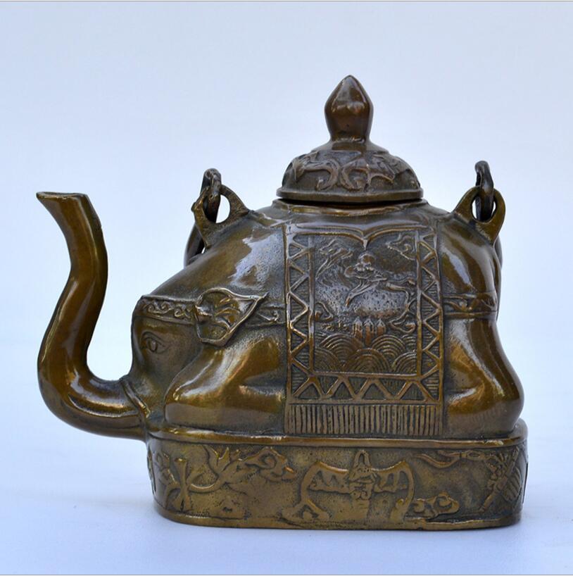 SCY 1011+++The copper elephant teapot creative ornamentsSCY 1011+++The copper elephant teapot creative ornaments