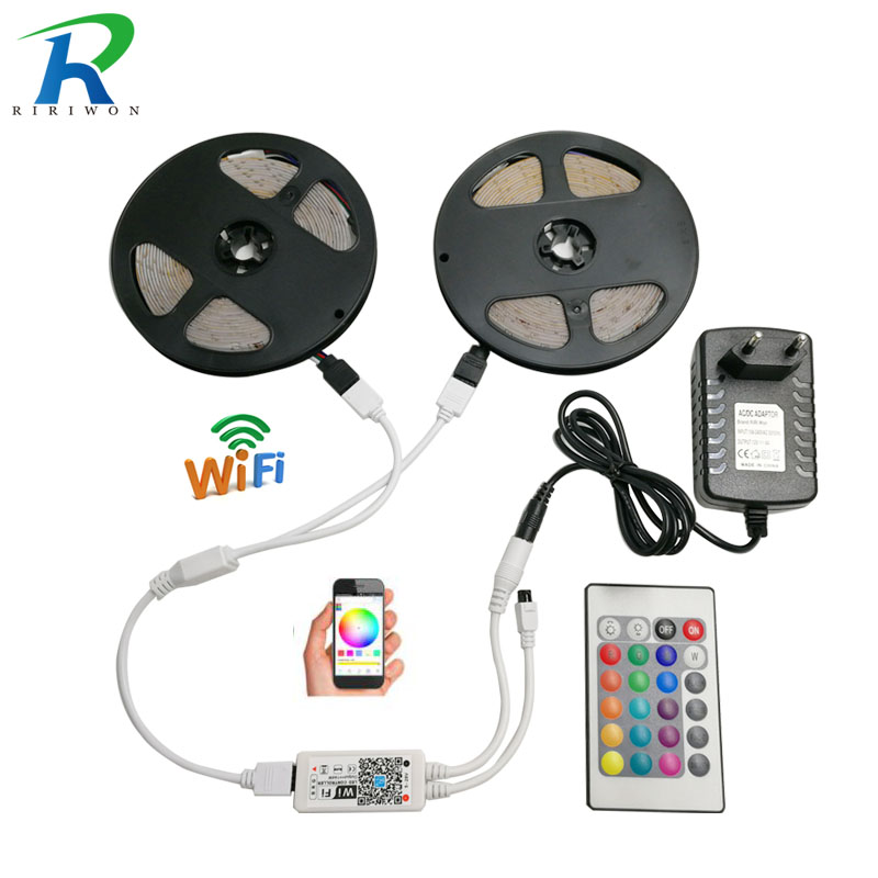 RiRi won LED Strip light SMD RGB 2835 5m 10m DC 12V Waterproof led light tape diode flexible ribbon WiFi controller adapter set riri won smd5050 rgb led strip waterproof led light dc 12v tape flexible strip 5m 10m 15m 20m touch rgb controller adapter