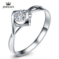 18K Pure Natural Diamond Womens Ring White Gold Lovers Setting Romantic Lady Propose Marry Engaged Wedding
