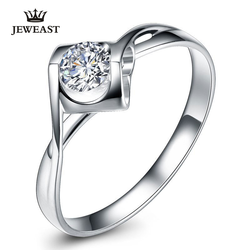 K Pure Natural Diamond Womens Ring White Gold Lovers Setting Romantic Lady