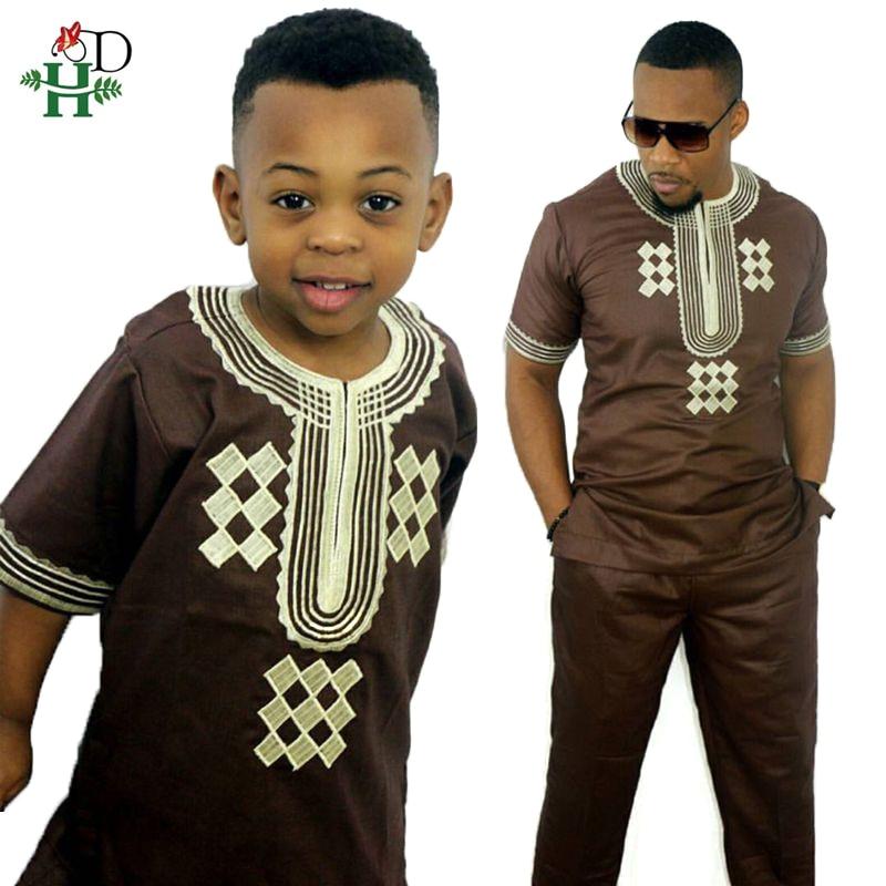 Dashiki Parent Kid Set 2019 African Kids Clothing African Men Dashiki Clothing Bazin Riche Shirt Pant Two 2 Piece Suits Children