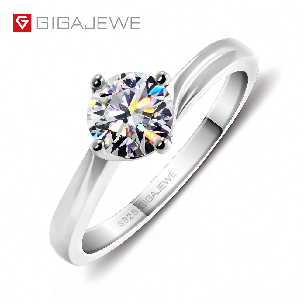 GIGAJEWE Moissanite Ring 0 8ct VVS1 Round Cut F Color Lab Diamond 925 Silver Jewelry Love