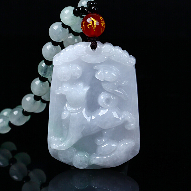 Natural jadeite Chinese zodiac jade pendant zodiac dog transshipment protective jade Yu Pei necklace pendant Send a certificate natural jadeite dragon brand lace jade pendant zodiac dragon transshipment yu pei jade pendant necklace for women and men