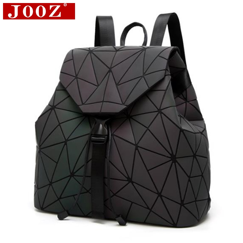 JOOZ Brand backpack women Rucksack Geometric Luminous School Backpack for For Teenage Girls Backbag holographic back pack jooz brand women 100