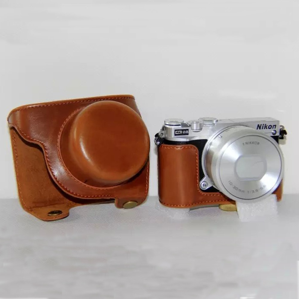 Brown Camera Leather Case Bag Cover Pouch For Nikon 1 J5 1j5 10 Kit 30mm Kamera Mirrorless Lenshigh Quality In Video Bags From Consumer Electronics On