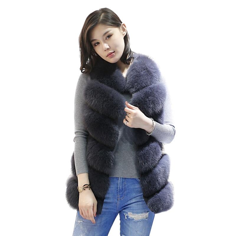 New Winter Genuine Fox Fur Vest Women's Full Pelt Gilet Warm Luxury Natural Fox Fur Waistcoat