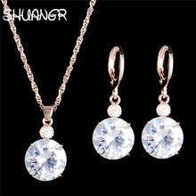 US $1.72 34% OFF|SHUANGR New Arrival Round Clear Crystal Set Gold Color Pendants Necklaces /Earrings Stud 2pcs Jewelry Set/Arete H327-in Jewelry Sets from Jewelry & Accessories on Aliexpress.com | Alibaba Group