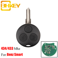 Bhkey 3 botões 434 mhz chave do carro remoto para benz para mercedes benz chave inteligente fortwo 450 forfour roadster chiave chave auto|Chave do carro| |  -