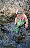 Bambino Crochet Mermaid Costume Set di Animale Appena Nato Puntelli Foto Infantile Maglia Bozzolo con Fasce Del Fiore formato: 0-1 M o 3-4 M