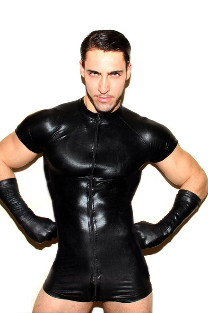 Plus Size 3XL Male Bodysuit Mesh Pu Leather Bondage Men