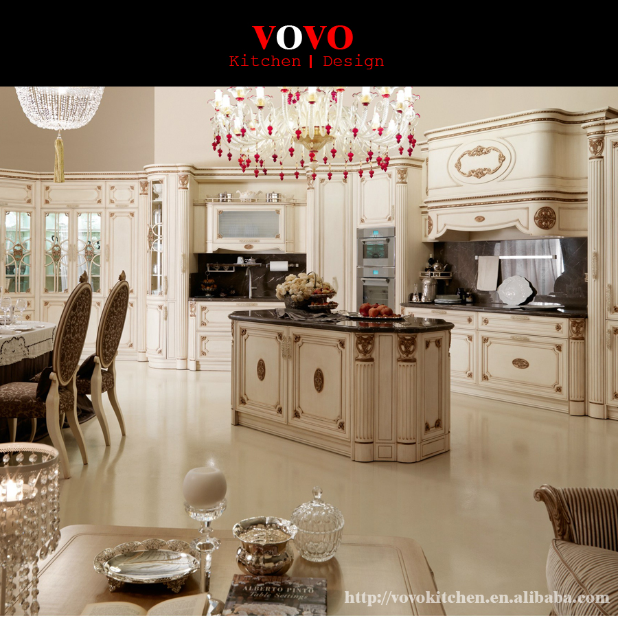 White Wood Kitchen Cabinets With Luxury Gold Foil-in