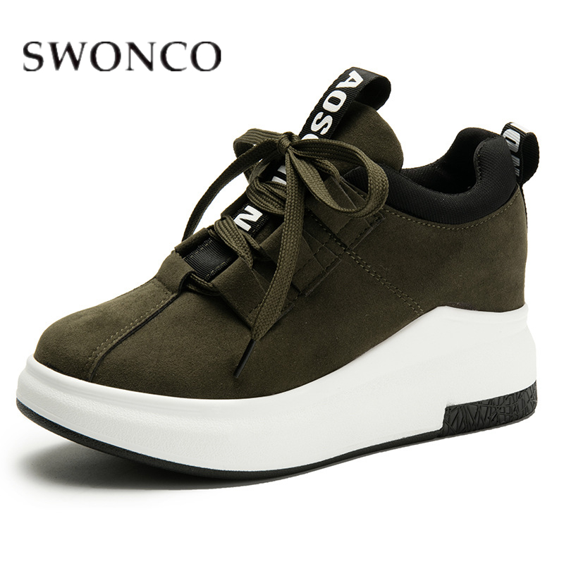 SWONCO Sneakers Women Canvas Wedges Invisible Heel Running Shoe Casual Shoes Letters Print Ins Fashion Ladies 2019 Green Sneaker