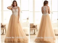 Free Shipping Elegant Long Champagne Tulle Lace appliques bridal gown Back See Through Party Gown cheap 2018 bridesmaid dresses