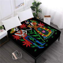Boho Tribal Sugar Skull Bed Sheets Flowers Print Fitted Sheet Halloween Skeleton Print Bedclothes Soft Mattress Cover D30 все цены