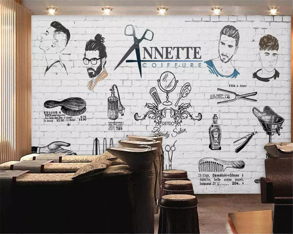 beibehang Custom size Fashion decorative painting wallpaper European American hand-painted trend barber shop background behang
