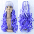 1PC European American Cosplay wig  anime lolita Harajuku wigs female 70cm Curly Blue white mixed hair COS wig 220g Free shipping