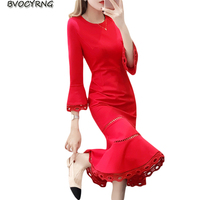 Bride Horn Sleeves Red Dress Autumn Winter New Women High Waist Temperament Fishtail Dresses Fashion Leisure