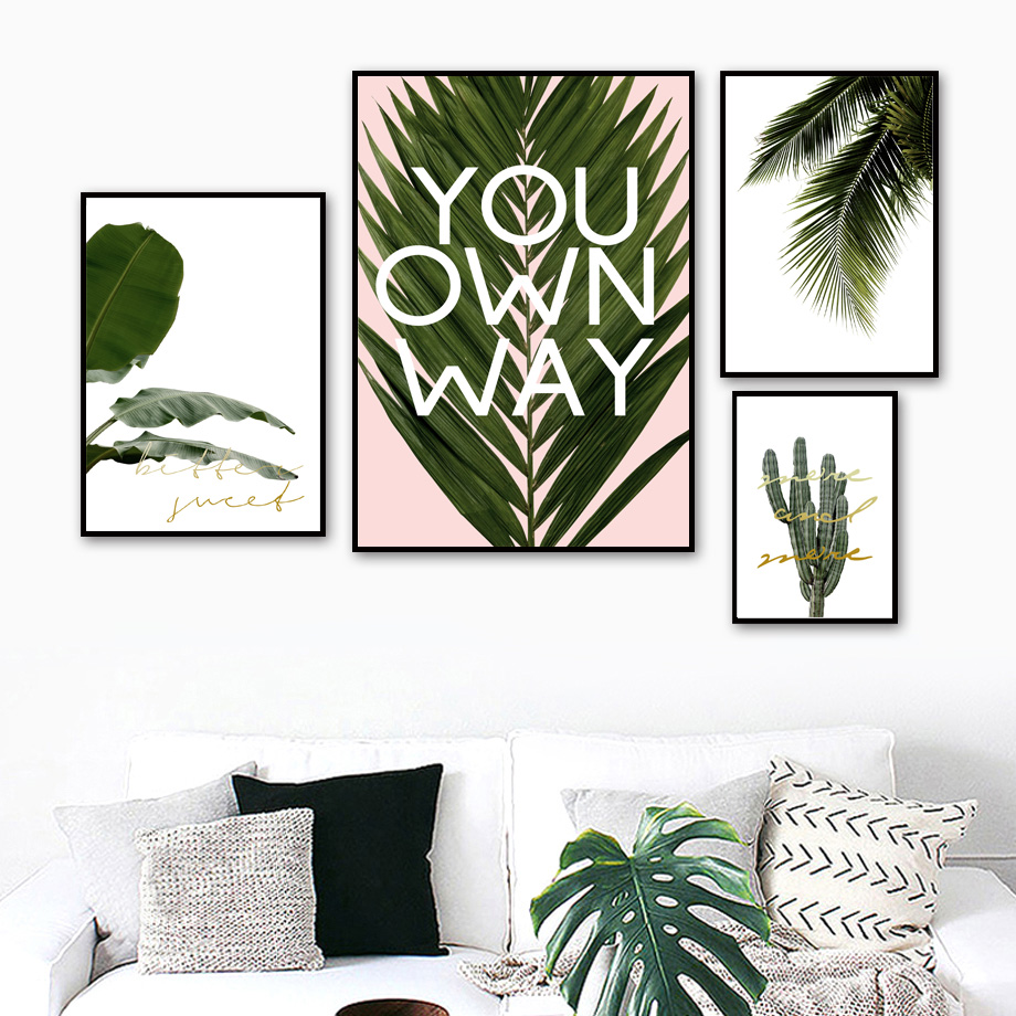 Green Cactus Tropical Plants Palm Leaves Wall Art Canvas