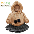 Moon Morning Kids Set Fur Faux Long Sleeve Autumn Winter Child Sweatshirt Solid Skirt Christmas Hooded Coffee 70cm Baby Garment