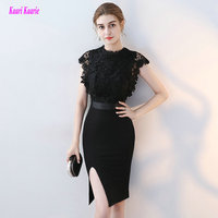 Fashion Little Black Dress Lace Short Cocktail Dresses 2018 New High Neck Elastic Satin knee Length Casual Cocktail Party Gown