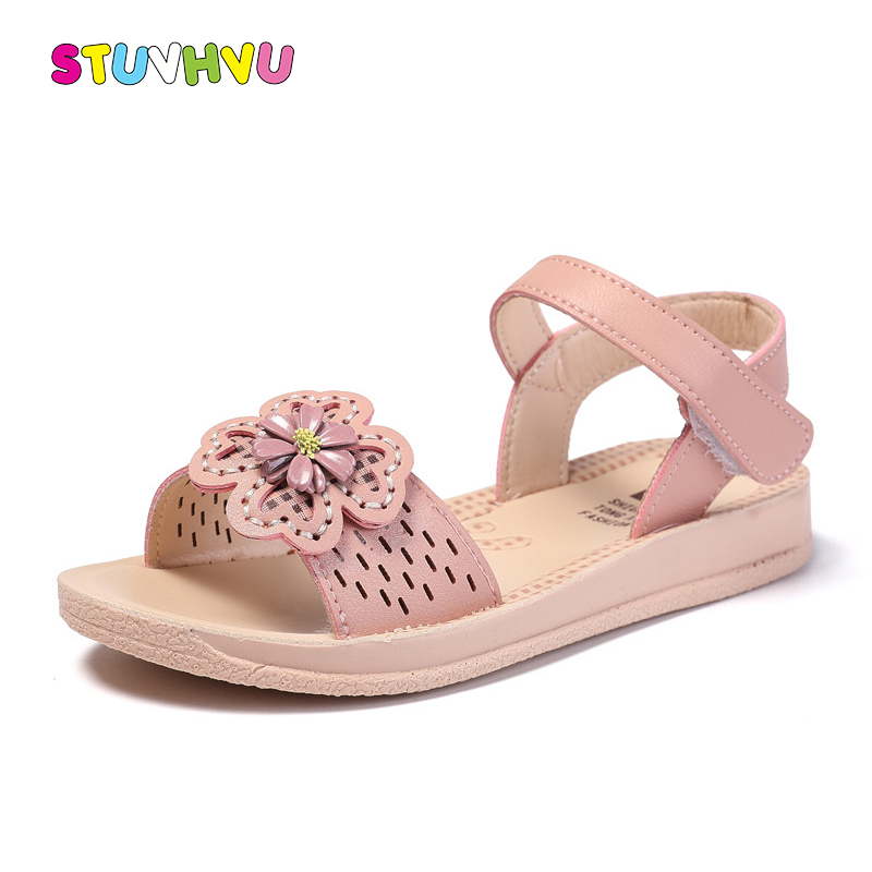 Leather Flowers Girls Sandals Children Summer Shoes 2019 New Sweet Little Girl Shoes Princess Sandals Hollow Kids Beach Shoes