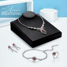 Amader Dubai Jewelry sets For Women Luxury Crystal Necklace Earrings Bracelets Earring 4Pcs Set Zinc Alloy Plated Wedding Set