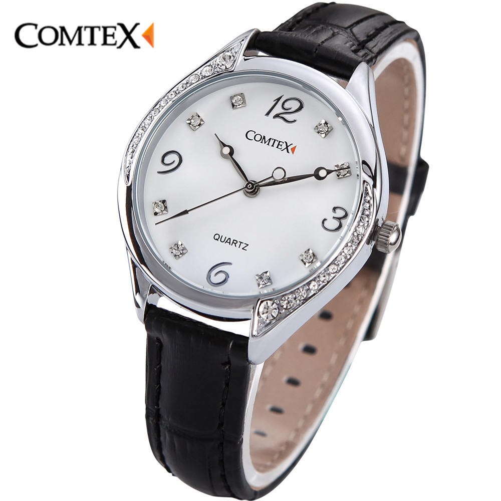 ФОТО Comtex fashion watch Black White Leather Band women watch Stainless Still Case Ladies wrist Watch Waterproof quartz wristwatches