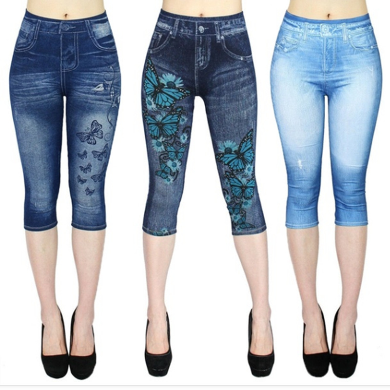 New Fashion Women's Capri Leggings Imitation Jeans 3/4 Summer Jegging Skinny Butterfly Printed Pants Plus Size