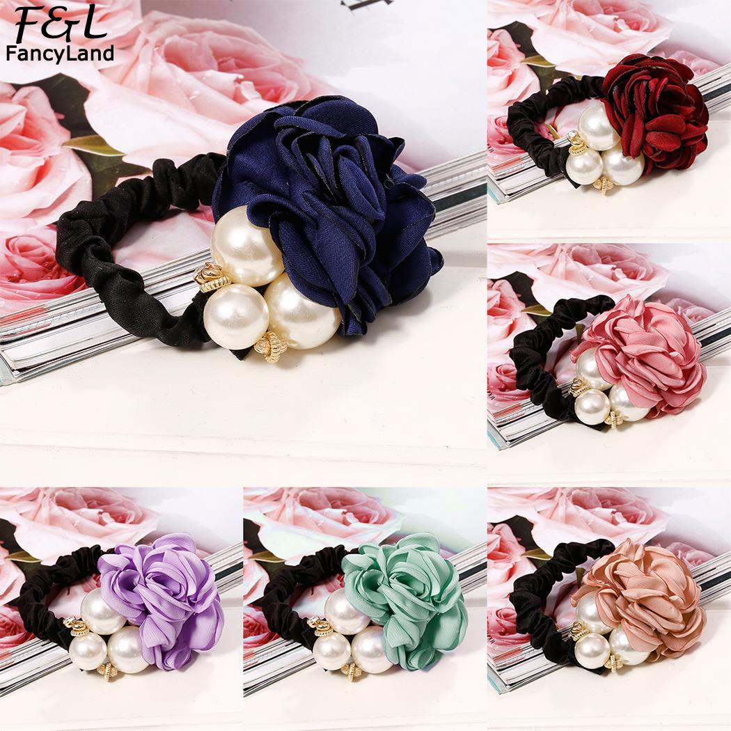 Hairbands Women Hair Accessories Fashion Artificial Pearls Rose Hair Rope Elastic Women Ring Hairbands