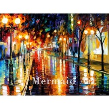 Hand Painted Night Perspective Landscape Abstract Palette Knife Modern Oil Painting Canvas Wall Living Room Artwork Fine Art