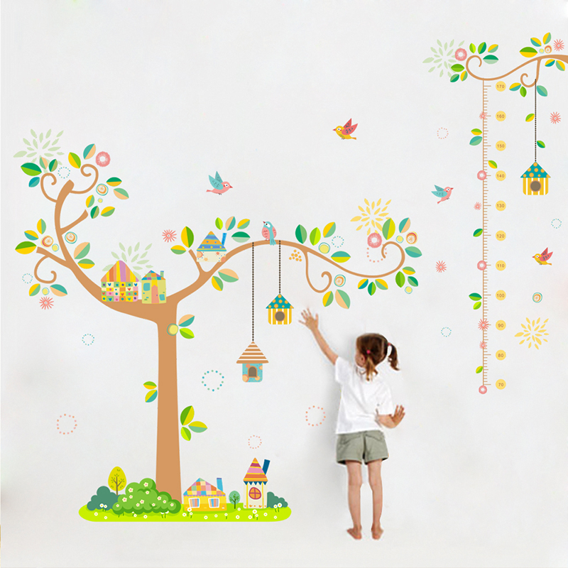 Family Tree Height Measure Decorative Wall Stickers For Nursery Kids Room Decoration Flying Birds Home Decor Mural Art PVC Decal