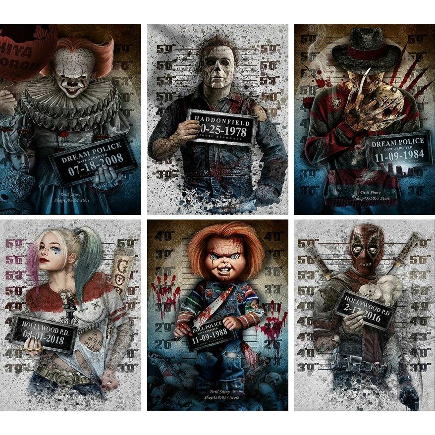 5D DIY Diamond Painting Halloween Harley Quinn Chucky Picture Pearl Art Horror Movies Cross Stitch Mosaic,80cmx120cm