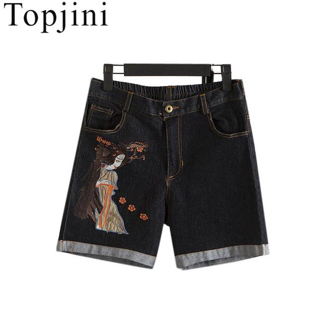 Topjini 2017 Novas Mulheres Da Moda Calções Bordados calças de Brim das Mulheres de Venda Quentes de Verão Cintura Fina Shorts Jeans Stretch Calça Jeans Mais tamanho