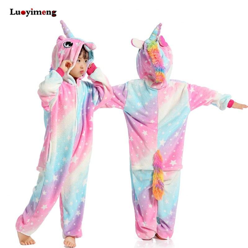 Enfants Kigurumi Panda Couverture Salopette Salopette Garçons Filles Enfants Animaux Pyjamas Onesies Cosplay Flanelle Traverses Rose Licorne