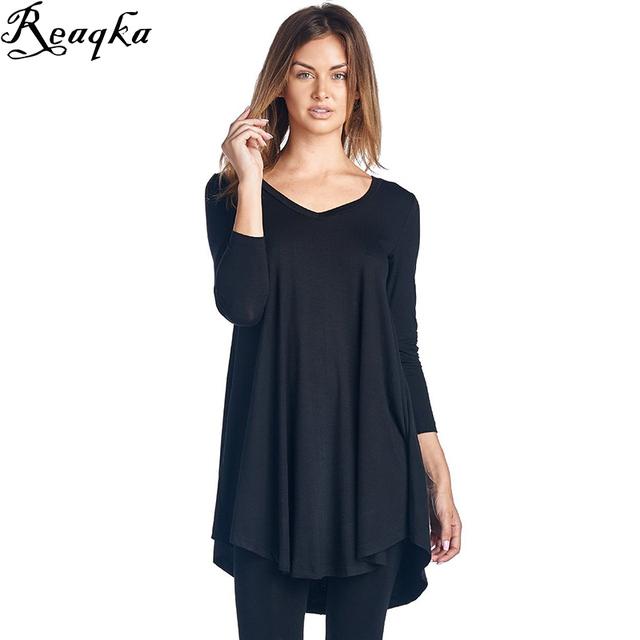 Algodón de las mujeres camisetas de manga larga 2016 Nueva camiseta Ocasional camiseta de las mujeres camiseta de manga larga para mujer Negro Gris tops venta al por mayor