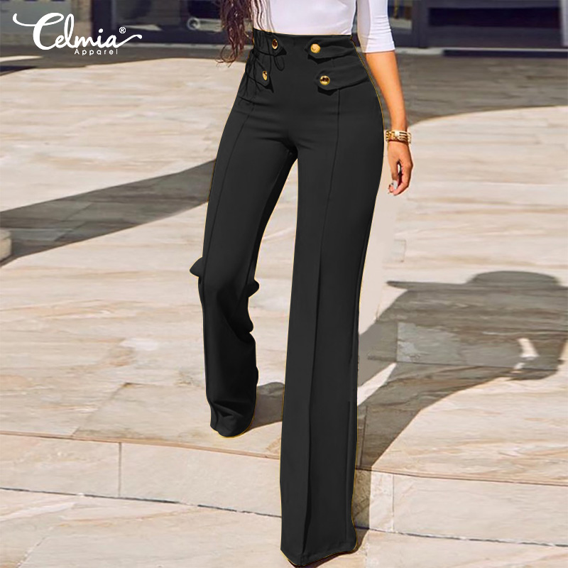 2019 Celmia Autumn Casual   Wide     Leg     Pants   High Waist Straight   Pants   Plus Size Bottom Women Solid Elastic Office Work Trousers 5XL