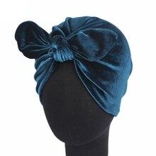Женская Шапка-бини с заячьими ушками, шапка под хиджаб, стильная бархатная Шапка-тюрбан, повязка на голову с бантом
