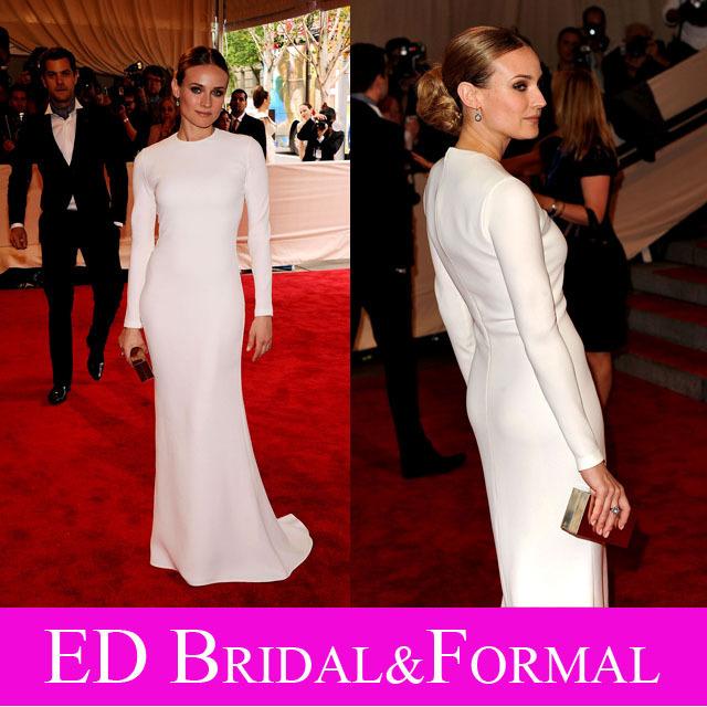 Diane Kruger vestido blanco de manga larga de noche árabe vestido desfile MET Costume Institute Gala beneficio
