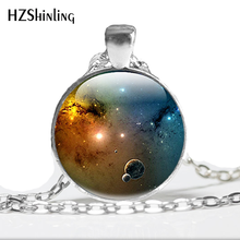 HZ--A539 New Universe Solar System Necklace Galaxy Pendant Space Jewelry Glass Photo Cabochon Necklace HZ1