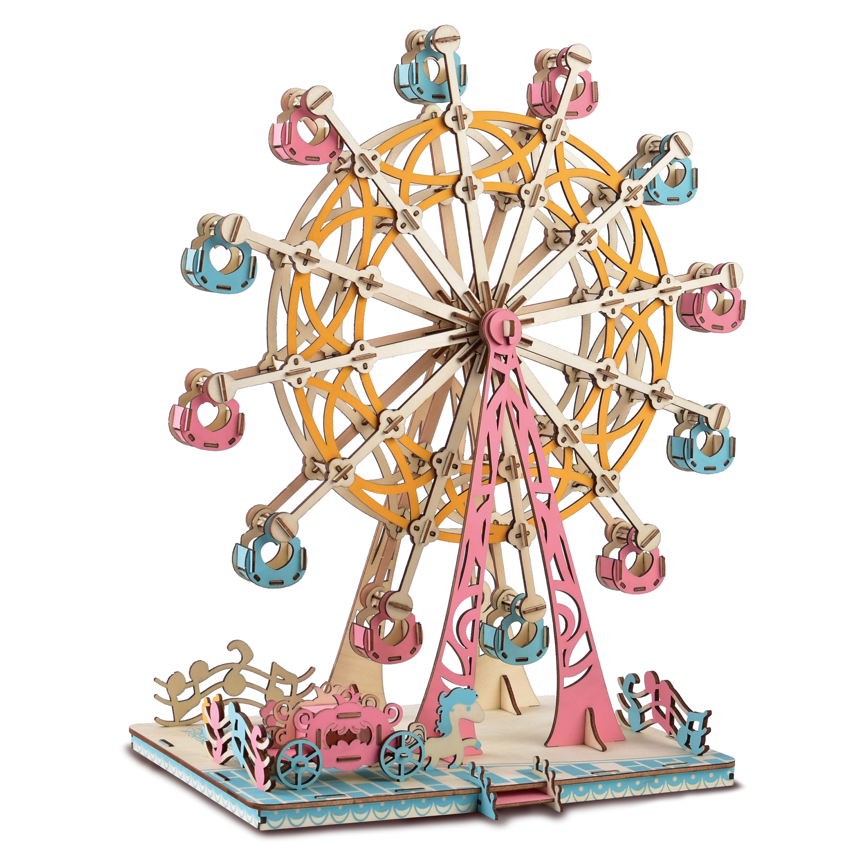 NEW DIY 3D Wooden Ferris Wheel Puzzle Game Gift For Children Kid Friend Nice Decor Model Building Kits Popular Toy