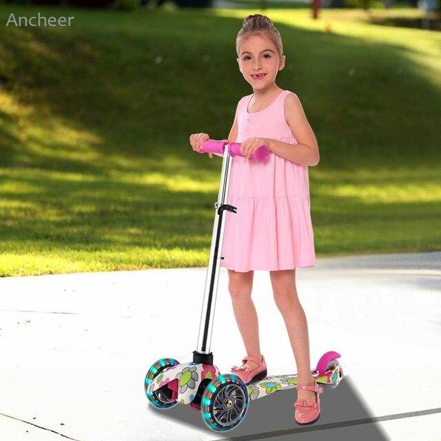 ПУ мигающее Колесо Самокат 3 колеса складной алюминиевый сплав скутер дети регулируемая высота Triciclo велосипеды игрушки подарки для детей