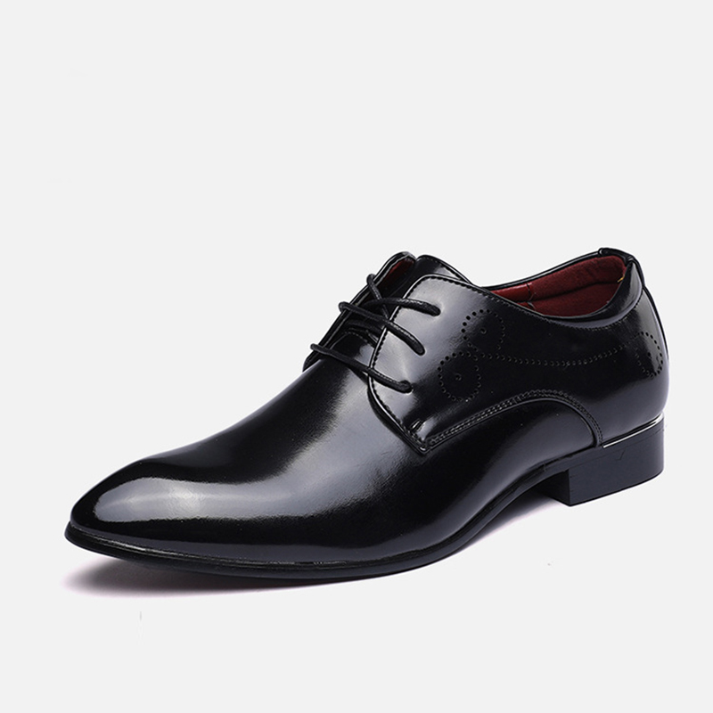Oxfords shoes British style Men Dress shoes Split Leather Flats Pointed toe Casual Fashion Shoes Spring/Autumn Male pu pointed toe flats with eyelet strap