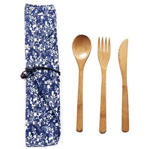 Image 5 - Garfo faca colher cultery jam utensílios de mesa conjunto acampamento ao ar livre bambu natural janpanese estilo ocidental louça