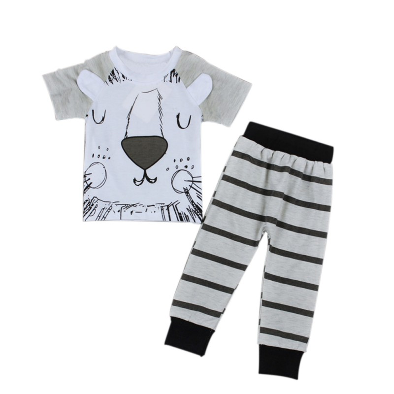 Little Short-Sleeve Baby Baby-Boys-Girls Spring Cotton 2-Pcs Monsters-And-The-Lions Infant